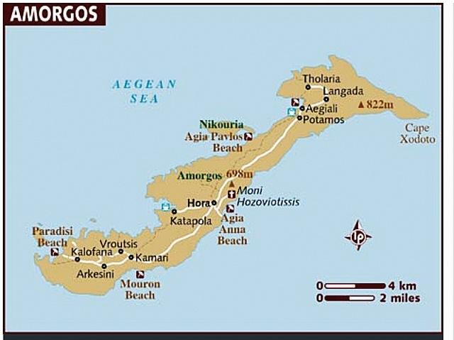Carte d'Amorgos - Cyclades - Grèce