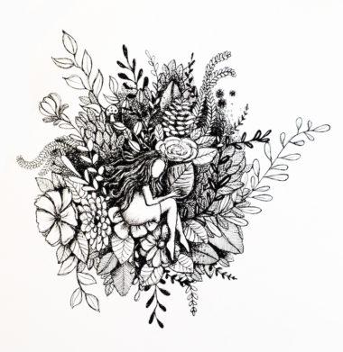 Dessin noir et blanc floral d'Elena Gangloff