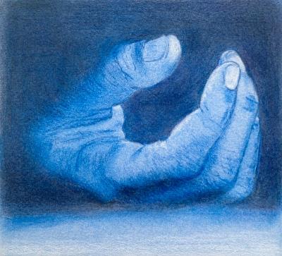 dessin de main aux crayons de couleurs dans les tons bleus