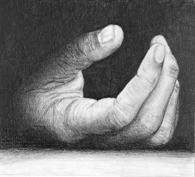 dessin de main au crayon