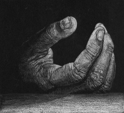 dessin de main au crayon blanc sur papier noir
