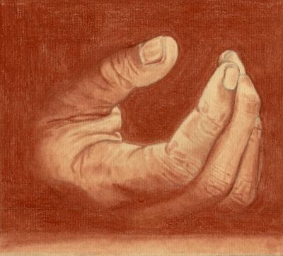 dessin de main à la sanguine