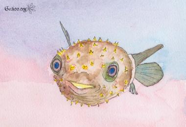 Dessin de Cyclichthys spilostylus aquarelle et feutre