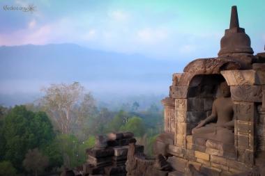 vue de Borobudur, Java, Indonésie