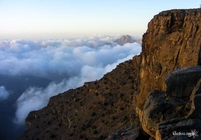 nuages dans la montagne à Jebel Sham